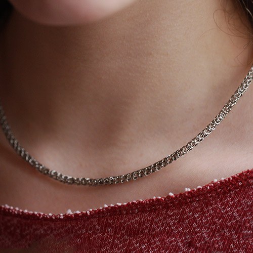Collier Maille argent taupe