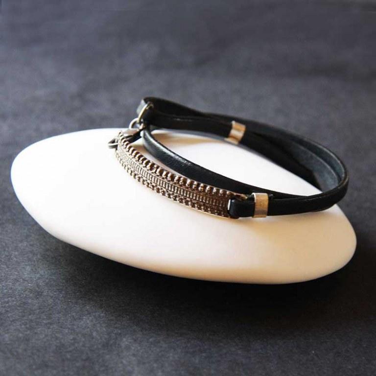 Bracelet Cuir Argent Vieilli