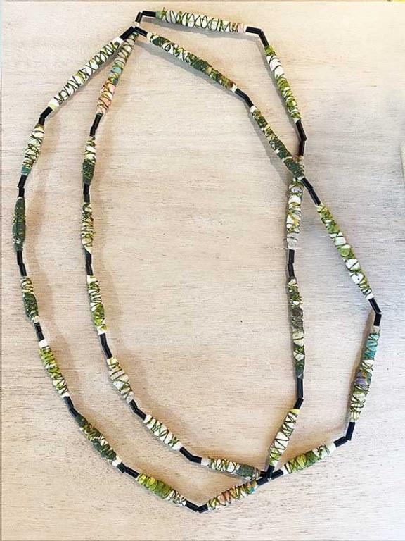 Sautoir Fuseau Textile Vert