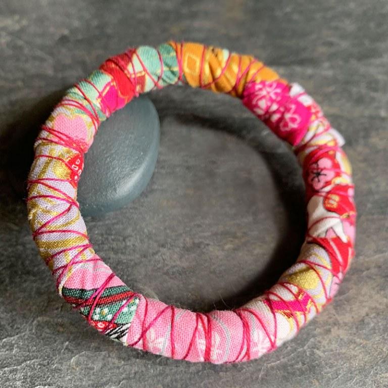 Bracelet Tissu Rose Rouge