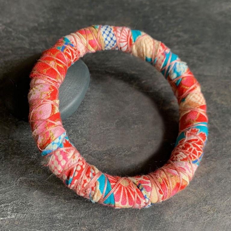 Bracelet Jonc Rose Orangé Turquoise
