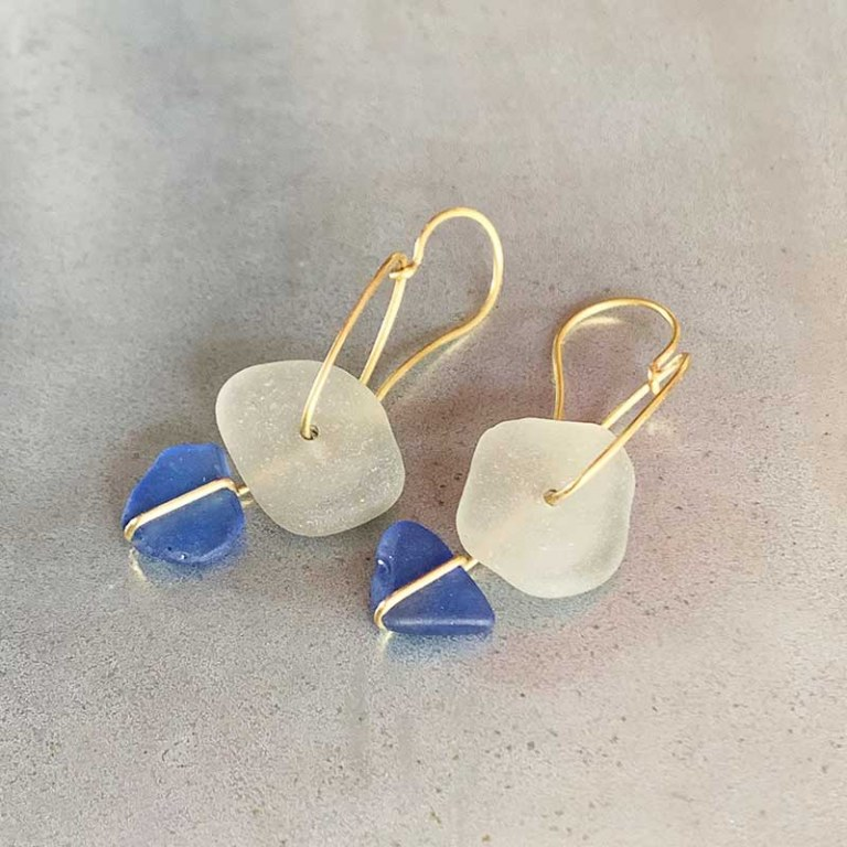 Boucles d'Oreilles verre dépoli Blue
