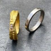 Anneau or irrégulier & diamant marquise
