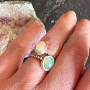 Bague Cabochon Opale Blanc/Rose/Vert