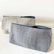 Trousse Lin Gris Taupe