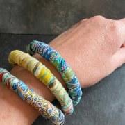 Bracelet Tissu japonais Bleu Turquoise-Jaune