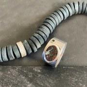 Collier Porcelaine Noire Perle Argent