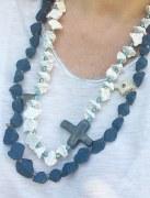 Collier Chapelet porcelaine blanc/bleu