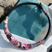 Collier Torque Textile Rose/Gris