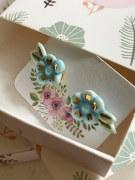 Boucles d'oreille Fleurs Bleue Porcelaine